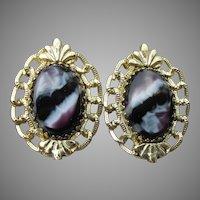 Whiting & Davis Vintage Purple & White Slag Glass Clip Earrings