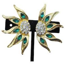 BIG Vintage 1/2 Sunflower on Each Ear Green Rhinestone Clip Earrings