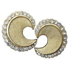 Signed Crown TRIFARI Vintage 1960s Rhinestone Comma Earrings