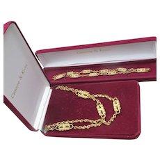 Camrose Kross Jackie Kennedy Gold Tone Paperclip Necklace & Bracelet Set, Mint In Box
