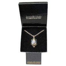 Spectacular Joan Rivers Jeweled & Enameled Faberge Style Egg Necklace, Mint In Box!
