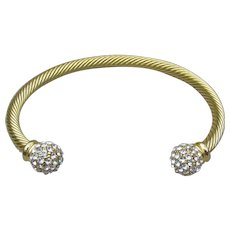 Twisted Vintage Gold Tone & Rhinestone Open Bangle Bracelet