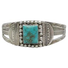 Navajo Native American Vintage Sterling & Turquoise Cuff Bracelet
