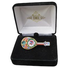 Italian Vintage Souvenir Micro Mosaic Mandolin or Guitar Pin, Mint In Box!