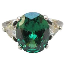Sterling Silver Vintage 2 Carat Oval Emerald Green CZ Ring, Size 6