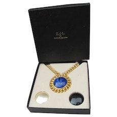 Kenneth Jay Lane Signed KJL Vintage Interchangeable Medallion Pin, Heavy Chain Necklace, Mint In Box!