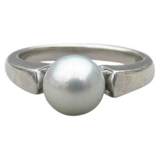 Hawaiian Cultured Pearl Sterling Silver Ring Signed Pearl Factory Light Gray, Size 7
