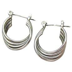 Dainty Vintage Quadruple Hoop Sterling Silver Pierced Earrings