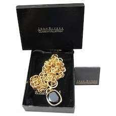 Joan Rivers Signed Vintage Heavy Gold Tone & Smoky Brown Topaz Glass Pendant Necklace, Mint In Box!