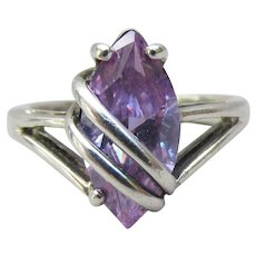Diagonally Wrapped Sterling Silver 2 Carat Marquise Lavender Ice CZ Ring, Size 7