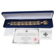 Camrose & Kross Jackie Kennedy Replica Goddess Panel Bracelet, New In Box!