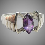 Sterling Silver Marquise Purple Ice CZ Modernist Ring, Size 6