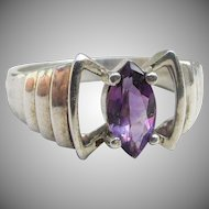 Sterling Silver Vintage Small Marquise Purple Ice CZ Modernist Ring, Size 6