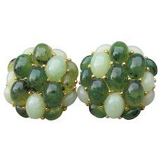 Vintage Joan Rivers Hard-to-Find Simulated Jade Cabochon Pierced Button Earrings