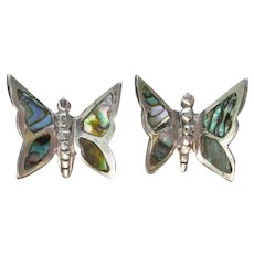 Vintage Mexican Sterling Silver Abalone Inlay BUTTERFLY Earrings, Converted to Pierced