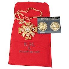 Kenneth Jay Lane KJL Signed Vintage Maltese Cross Pin/Pendant Necklace & Earrings Set, MINT In Pouch