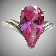 Large Modern Sterling Silver & 3 Carat Dark Pink Teardrop CZ Vintage Ring, Size 7