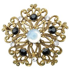 Signed FLORENZA Vintage Victorian Revival Opal & Rhinestone Pin