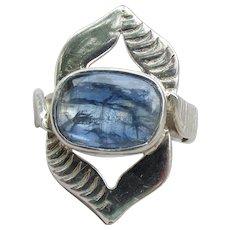 Spectacular Rutilated Blue Quartz Sterling Silver Modernist Ring, Size 8
