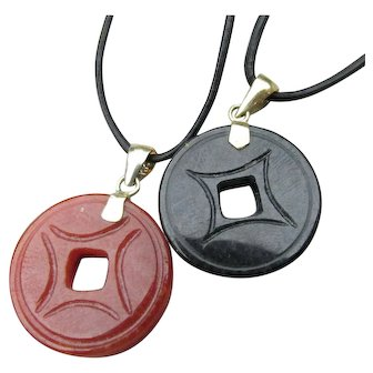 Pair Black & Orange Jade Sterling Silver Pendants on Leather Necklaces