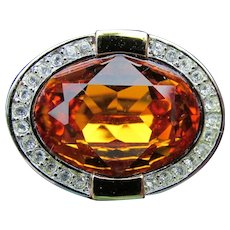 Joan Rivers Big Oval Citrine CZ Cocktail Ring, Size 11, MINT IN Box