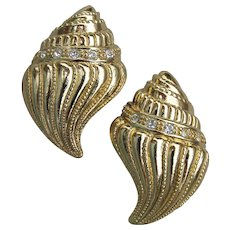 KJL for Avon Signed 1990s Kenneth Jay Lane Sea Shell Rhinestone Earrings