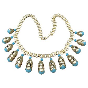 1920's Vintage Egyptian Revival Faux Turquoise Book Chain Collar Necklace