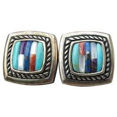 Carolyn Pollack RELIOS Vintage Native American Inlaid Gemstone Sterling Silver Earrings
