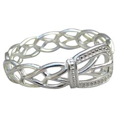 Delicate Sterling Silver Filigree Belt Buckle Band Ring, Size 7