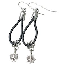 Hand-Made Artisan Sterling & Black Leather PEACE SIGN Dangle Charm Earrings