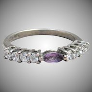 Delicate Amethyst & CZ Vintage Sterling Silver Band Ring, Size 6