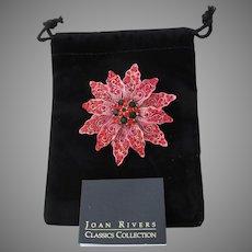 Joan RIVERS Signed Vintage Red Rhinestone Christmas POINSETTIA Pin, MIB