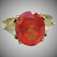 Sterling Silver Vermeil Big Oval Orange & Yellow CZ Ring, Size 7