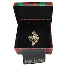 Joan Rivers Vintage Christmas Lights Bee Pin, New In Box!