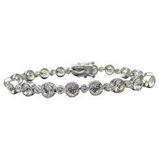 Joan Rivers Vintage Silver Plated Bezel Set Crystal Tennis Bracelet