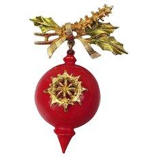 Signed ART Vintage Dangling Red Enamel Christmas Ornament Pin