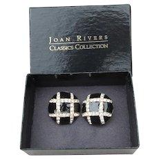 Joan Rivers Vintage Black Enamel & Crystal Rhinestone Clip Button Earrings, NEW In Box!
