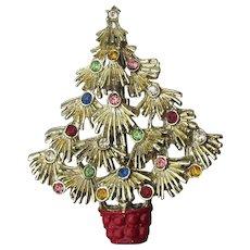 Big Fluffy Vintage Rhinestone & Enamel Christmas Tree Pin