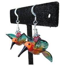 """My Secret Garden"" Lampwork Art Glass, Swarovski Crystal, Sterling Silver Dangle Artisan Earrings, ""Rainforest Hummingbirds"" #164"