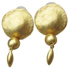 Etruscan Revival Vintage Hammered Disk Dangle Pierced Earrings