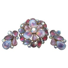 Early 1950s Signed CORO Vintage Milky Lavender Givre Glass Rhinestone Pin & Earrings Set