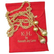 Signed KJL Kenneth Jay Lane Bolera Lariat Necklace, NEW In Pouch