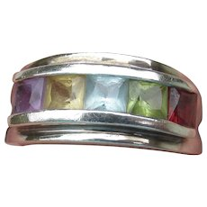 Sterling Silver Vintage Channel Set Multi Gemstone Band Ring, Size 8