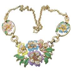 Pretty 1940s Retro Pastel Enamel & Rhinestone Flower Bouquet Necklace