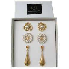 Signed KJL Kenneth Jay Lane Faux Pearl Studs & 3 Earring Jackets Set, NEW In Box