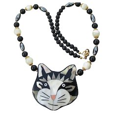 Signed Lee Sands Inlaid Mother-of-Pearl Shell Enamel CAT Necklace, NEW In Box!