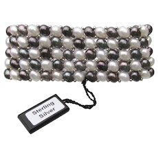 Elegant Signed HONORA Black & White Cultured Freshwater Pearl & Sterling Silver 5 Row Stretch Cuff Bracelet
