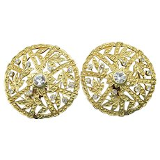 BIG Vintage 1980s Gold Tone Filigree & Rhinestone Button Clip Earrings
