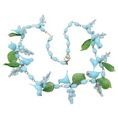 Venetian Murano Glass Blue Bird & Flower Bead 1920s Vintage Necklace