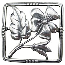 1940s Signed CORO Sterling Silver Retro Flower Pin